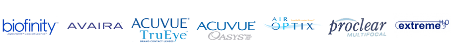 Contact Lenses - Biofinity, Acuvue Oasys, Air Optix, Extreme H2O, Avaira, Proclear 1 Day, TruEye, and Boston.